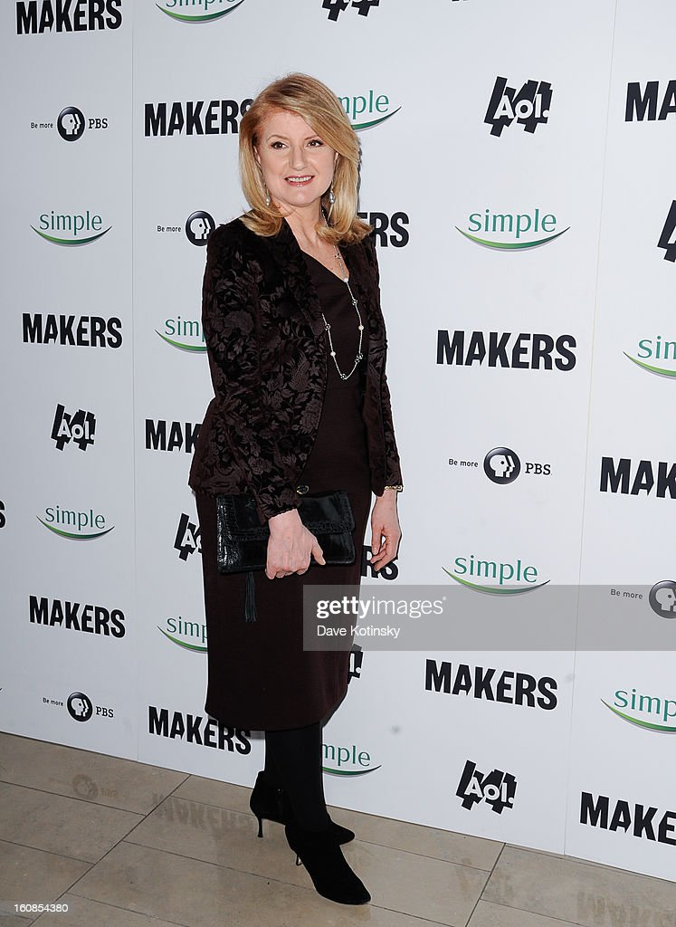 Arianna Huffington arrives at 'MAKERS: Women Who Make America' New York Premiere at Alice Tully Hall on February 6, 2013 in New York City.