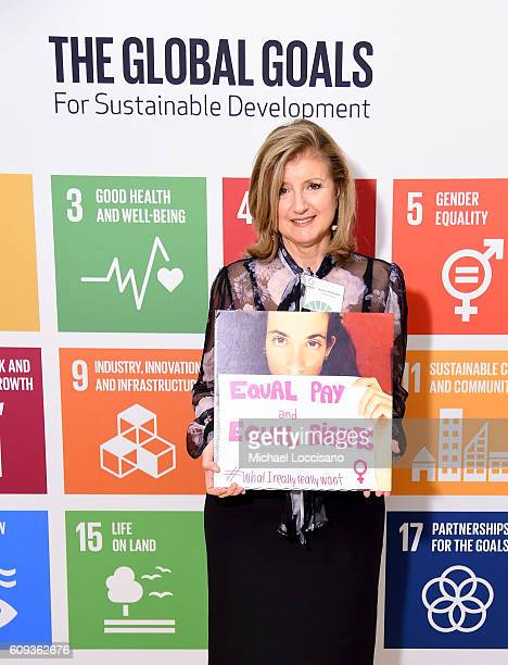 Arianna Huffington attends 2016 Global Goals Awards Dinner at Gustavino's on September 20 2016 in New York City