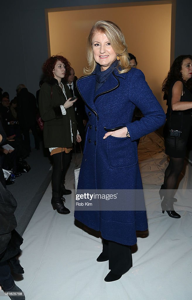 <a gi-track='captionPersonalityLinkClicked' href=/galleries/search?phrase=Arianna+Huffington&family=editorial&specificpeople=204730 ng-click='$event.stopPropagation()'>Arianna Huffington</a> attends Nanette Lepore during Fall 2013 Mercedes-Benz Fashion Week at The Stage at Lincoln Center on February 13, 2013 in New York City.