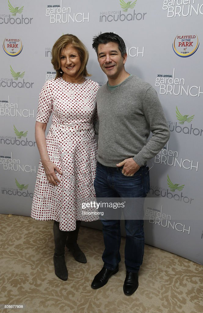 Arianna Huffington, co-founder and editor-in-chief of the Huffington Post, left, and Travis Kalanick, co-founder and chief executive officer of Uber Technologies Inc., attend the 23rd Annual White House Correspondents' Garden Brunch in Washington, D.C., U.S., on Saturday, April 30, 2016. The event will raise awareness for Halcyon Incubator, an organization that supports early stage social entrepreneurs 'seeking to change the world' through an immersive 18-month fellowship program. Photographer: Andrew Harrer/Bloomberg via Getty Images