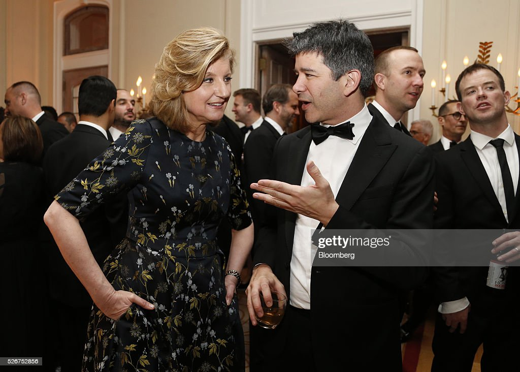 Arianna Huffington, co-founder and editor-in-chief of the Huffington Post, left, and Travis Kalanick, co-founder and chief executive officer of Uber Technologies Inc., attend the Bloomberg Vanity Fair White House Correspondents' Association (WHCA) dinner afterparty in Washington, D.C., U.S., on Saturday, April 30, 2016. The 102nd WHCA raises money for scholarships and honors the recipients of the organization's journalism awards. Photographer: Andrew Harrer/Bloomberg via Getty Images