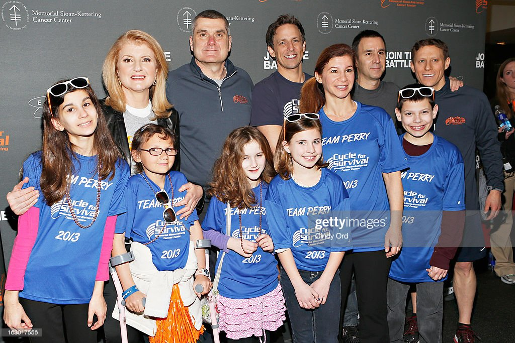 Arianna Huffington (2nd L-back row), Dr. Craig Thompson, Seth Meyers and David Linn (R) attend the 2013 Cycle For Survival Benefit at Equinox Rock Center on March 3, 2013 in New York City.
