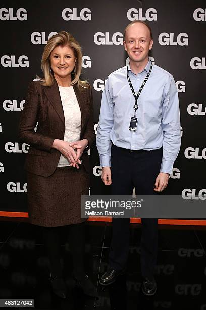 Arianna Huffington editorinchief at The Huffington Post and Alexander SaintAmand President and CEO at GLG visit GLG on February 10 2015 in New York...