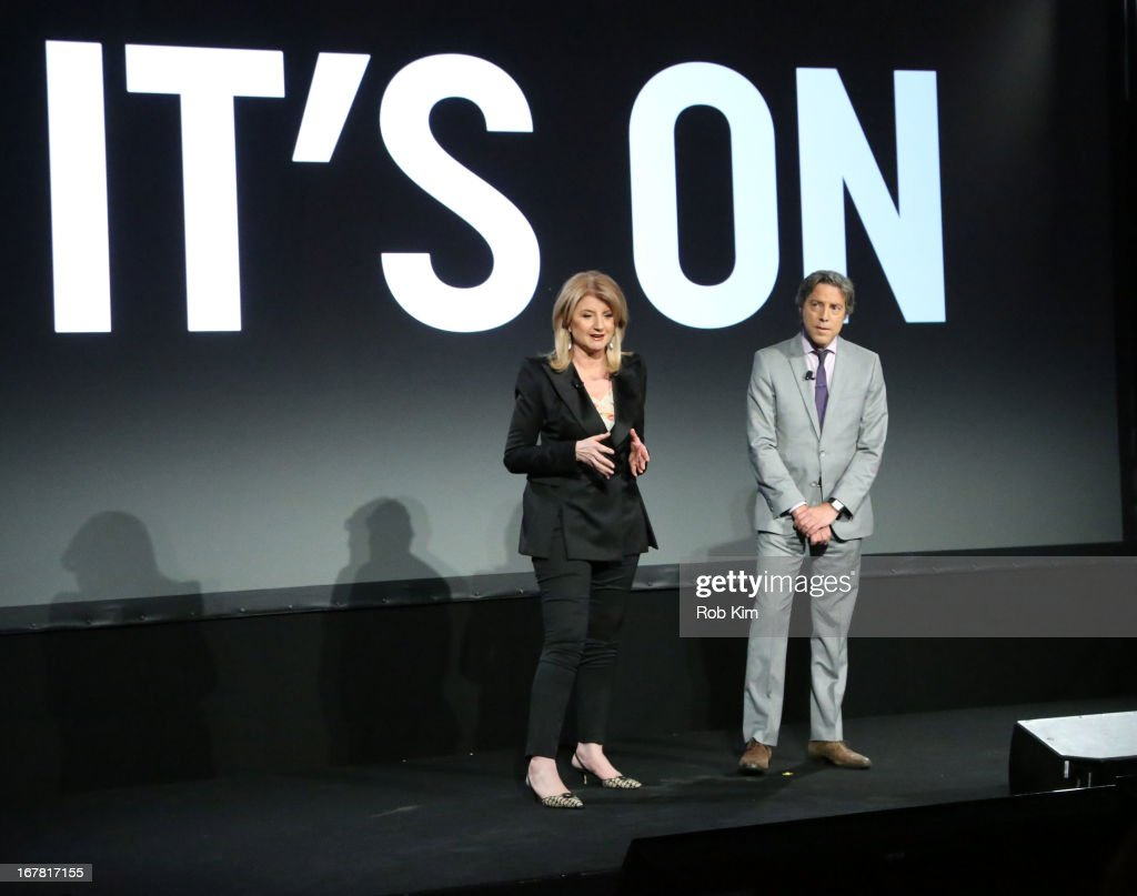Arianna Huffington of The Huffington Post and Roy Sekoff speak onstage at the AOL 2013 Digital Content NewFront on April 30, 2013 in New York City.