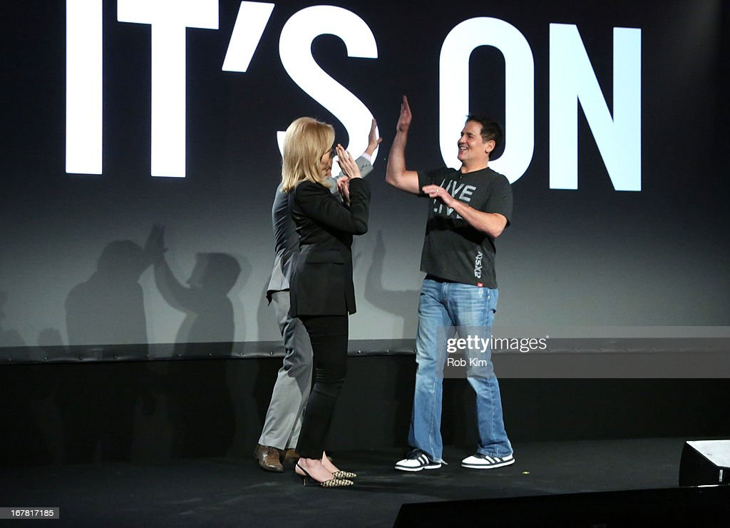 Arianna Huffington of The Huffington Post, Roy Sekoff and Mark Cuban speak onstage at the AOL 2013 Digital Content NewFront on April 30, 2013 in New York City.