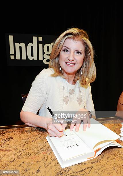 Arianna Huffington signs her new book 'Thrive' at Indigo Manulife Centre on April 21 2014 in Toronto Canada