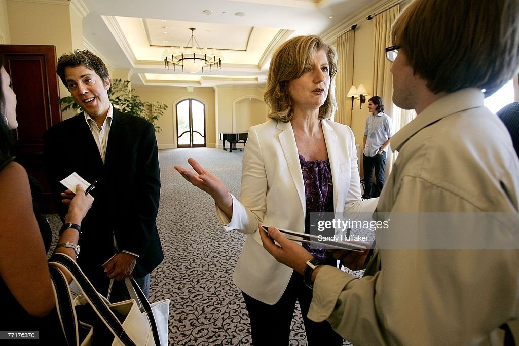 R, Arianna Huffington speaks with attendee at the Webby Connect Summit on October 3, 2007 in Dana Point, California.