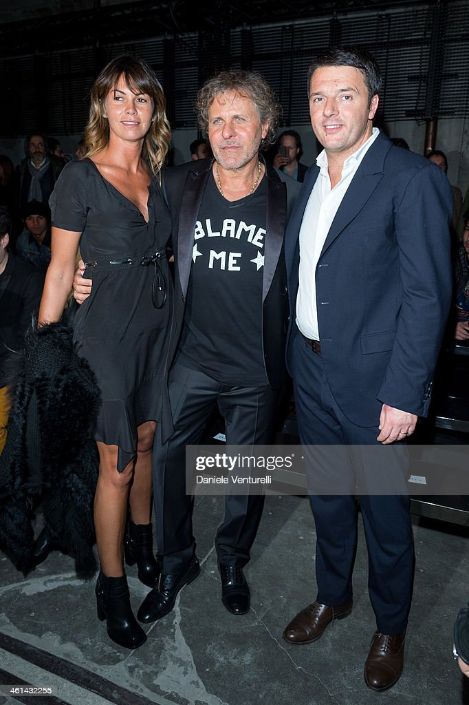 Arianna Lessi, Renzo Rosso and Matteo Renzi attend Diesel Black Gold during the Pitti Immagine Uomo 85 on January 8, 2014 in Florence, Italy.