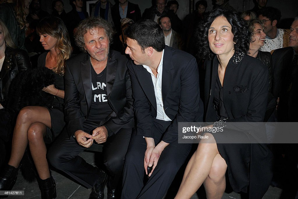 Arianna Lessi, Renzo Rosso, Matteo Renzi and Agnese Renzi attend Diesel Black Gold fashion show during Pitti Immagine Uomo 85 on January 8, 2014 in Florence, Italy.