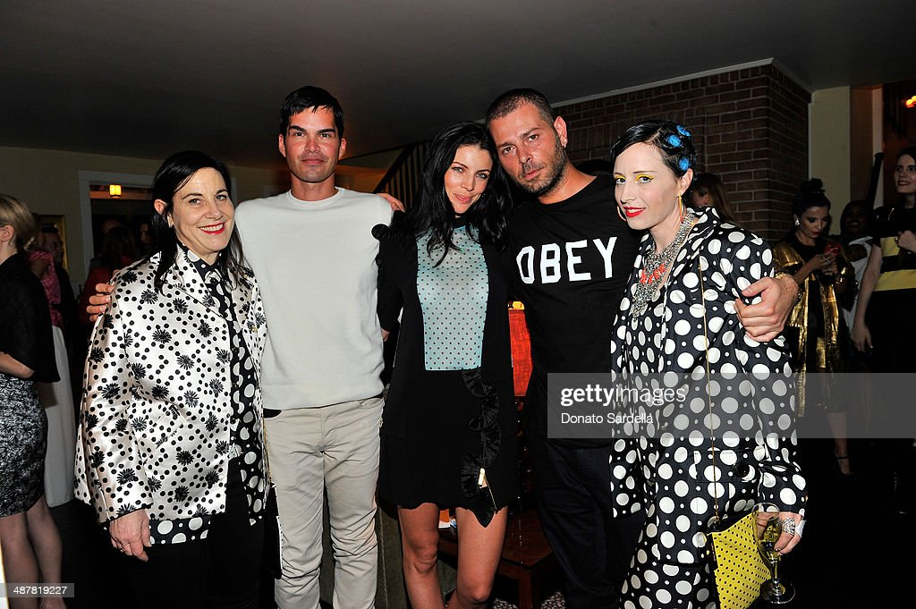 Arianne Phiilips, Simon Robins, Liberty Ross, Fausto Puglisi and B. Akerlund attend A private dinner In honor of Fausto Puglisi of Emanuel Ungaro hosted by Barneys New York at Chateau Marmont on May 1, 2014 in Los Angeles, California.