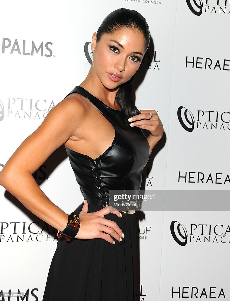 <a gi-track='captionPersonalityLinkClicked' href=/galleries/search?phrase=Arianny+Celeste&family=editorial&specificpeople=4900711 ng-click='$event.stopPropagation()'>Arianny Celeste</a> (Black Angel dress) attends the Optical Panacea Launch Party at HERAEA at the Palms Casino Resort on May 24, 2013 in Las Vegas, Nevada.