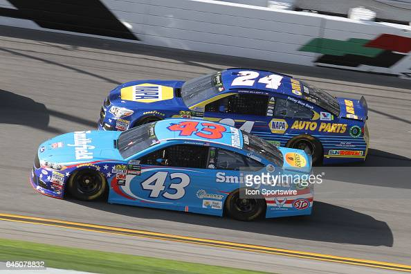 Aric Almirola and Chase Elliott race side by side during practice for the NASCAR Monster Energy Cup Series Daytona 500 on February 24 at the Daytona...