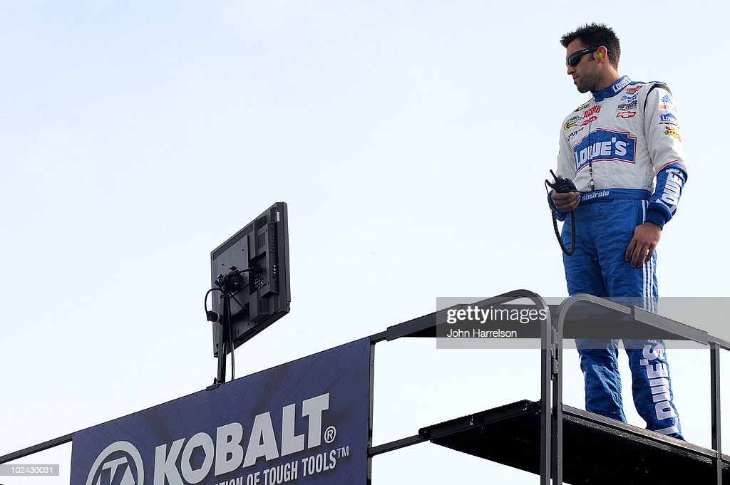 <a gi-track='captionPersonalityLinkClicked' href=/galleries/search?phrase=Aric+Almirola&family=editorial&specificpeople=574878 ng-click='$event.stopPropagation()'>Aric Almirola</a>, back-up driver of the #48 Lowe's Chevrolet, watches practice for the NASCAR Sprint Cup Series LENOX Industrial Tools 301 at New Hampshire Motor Speedway on June 26, 2010 in Loudon, New Hampshire.