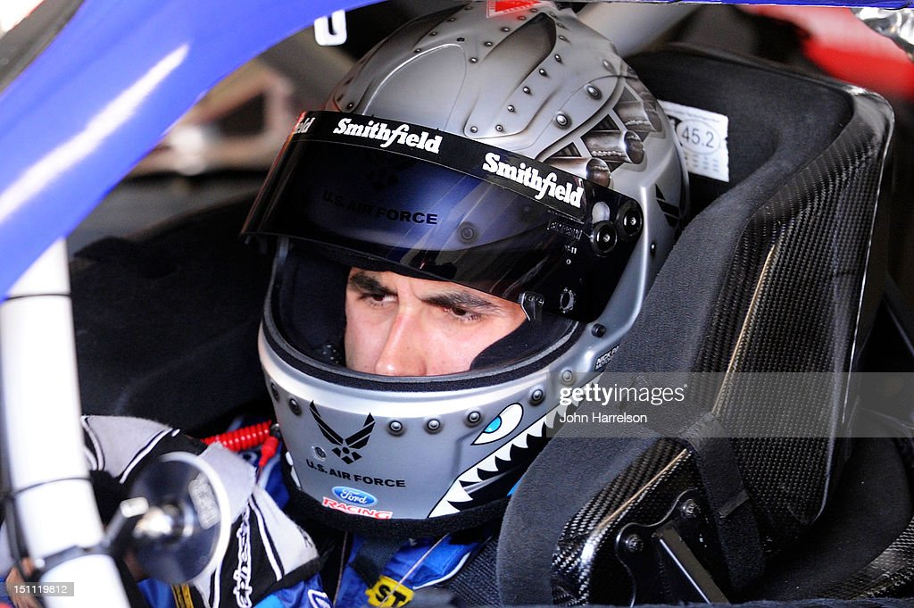 <a gi-track='captionPersonalityLinkClicked' href=/galleries/search?phrase=Aric+Almirola&family=editorial&specificpeople=574878 ng-click='$event.stopPropagation()'>Aric Almirola</a>, driver of the #43 AdvoCare Ford, sits in his car during practice for the NASCAR Sprint Cup Series AdvoCare 500 at Atlanta Motor Speedway on September 1, 2012 in Hampton, Georgia.