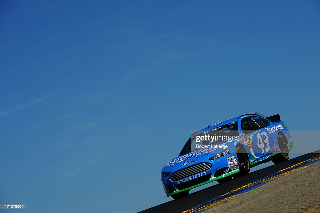 <a gi-track='captionPersonalityLinkClicked' href=/galleries/search?phrase=Aric+Almirola&family=editorial&specificpeople=574878 ng-click='$event.stopPropagation()'>Aric Almirola</a>, driver of the #43 Farmland Ford, drives during practice for the NASCAR Sprint Cup Series Toyota/Save Mart 350 at Sonoma Raceway on June 21, 2013 in Sonoma, California.