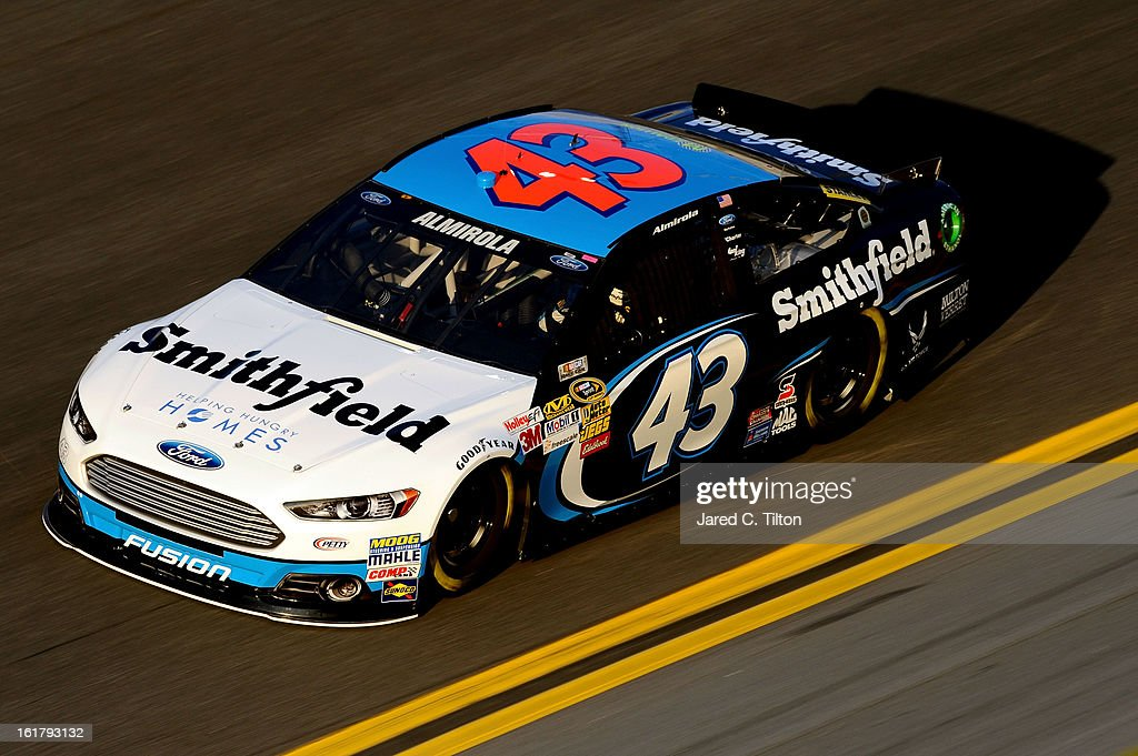 Aric Almirola, driver of the #43 Smithfield Foods Ford, during practice for the NASCAR Sprint Cup Series Daytona 500 at Daytona International Speedway on February 16, 2013 in Daytona Beach, Florida