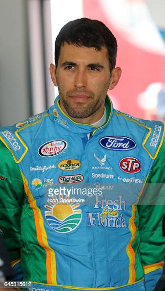 Aric Almirola driver of the Smithfield Foods Ford during practice for the NASCAR Monster Energy Cup Series Daytona 500 on February 25 at Daytona...
