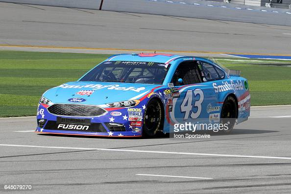 Aric Almirola driver of the Smithfield Foods Ford for the NASCAR Monster Energy Cup Series Daytona 500 on February 24 at the Daytona International...