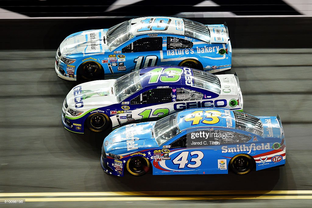 Aric Almirola, driver of the #43 Smithfield Ford, Casey Mears, driver of the #13 GEICO Chevrolet, and Danica Patrick, driver of the #10 Nature's Bakery Chevrolet, race during the NASCAR Sprint Cup Series Sprint Unlimited at Daytona International Speedway on February 13, 2016 in Daytona Beach, Florida.