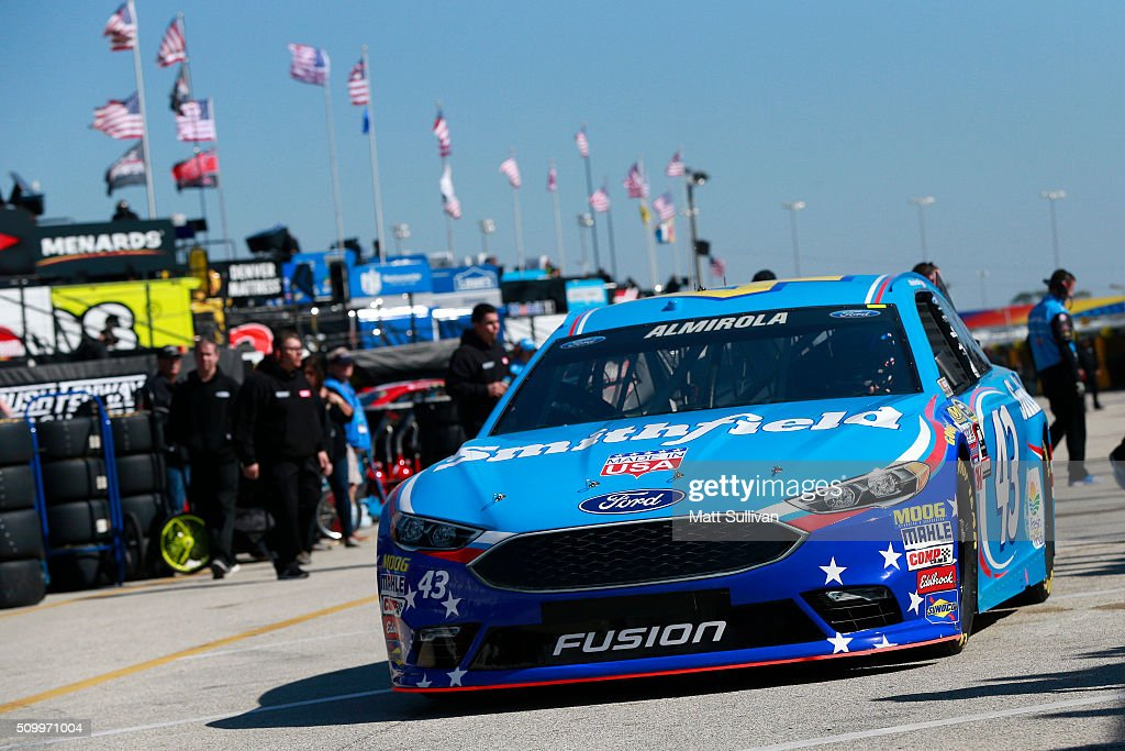 <a gi-track='captionPersonalityLinkClicked' href=/galleries/search?phrase=Aric+Almirola&family=editorial&specificpeople=574878 ng-click='$event.stopPropagation()'>Aric Almirola</a>, driver of the #43 Smithfield Ford, drives through the garage area during practice for the NASCAR Sprint Cup Series Daytona 500 at Daytona International Speedway on February 13, 2016 in Daytona Beach, Florida.