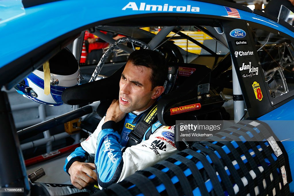 <a gi-track='captionPersonalityLinkClicked' href=/galleries/search?phrase=Aric+Almirola&family=editorial&specificpeople=574878 ng-click='$event.stopPropagation()'>Aric Almirola</a>, driver of the #43 Smithfield Ford, during practice for the NASCAR Sprint Cup Series Cheez-It 355 at Watkins Glen International on August 9, 2013 in Watkins Glen, New York.