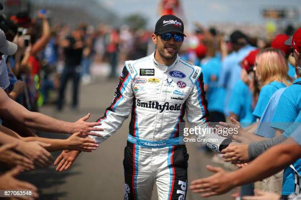 Aric Almirola driver of the Smithfield Ford is introduced prior to the Monster Energy NASCAR Cup Series I Love NY 355 at The Glen at Watkins Glen...
