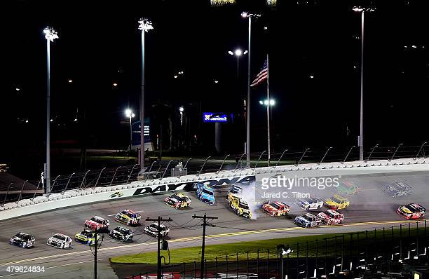 Aric Almirola driver of the Smithfield Ford Matt Kenseth driver of the DeWalt Made in USA Toyota and Kasey Kahne driver of the Great Clips/Shark Week...