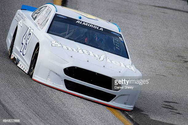 Aric Almirola driver of the Smithfield Ford practices during testing for the NASCAR Sprint Cup Series at Atlanta Motor Speedway on October 29 2015 in...