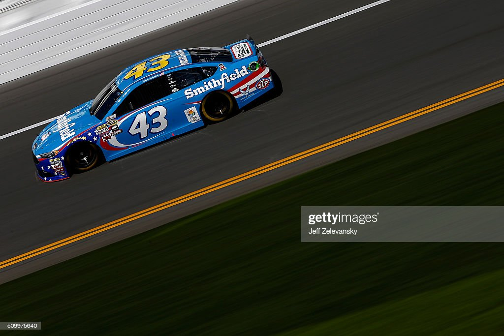<a gi-track='captionPersonalityLinkClicked' href=/galleries/search?phrase=Aric+Almirola&family=editorial&specificpeople=574878 ng-click='$event.stopPropagation()'>Aric Almirola</a>, driver of the #43 Smithfield Ford, practices for the NASCAR Sprint Cup Series Daytona 500 at Daytona International Speedway on February 13, 2016 in Daytona Beach, Florida.