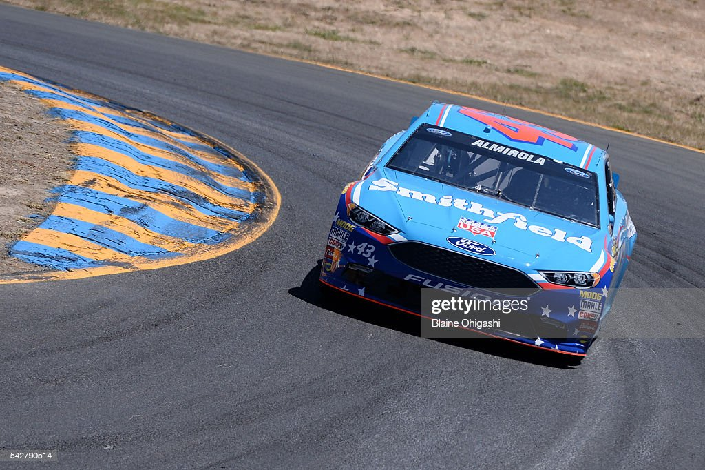 <a gi-track='captionPersonalityLinkClicked' href=/galleries/search?phrase=Aric+Almirola&family=editorial&specificpeople=574878 ng-click='$event.stopPropagation()'>Aric Almirola</a>, driver of the #43 Smithfield Ford, practices for the NASCAR Sprint Cup Series Toyota/Save Mart 350 at Sonoma Raceway on June 24, 2016 in Sonoma, California.