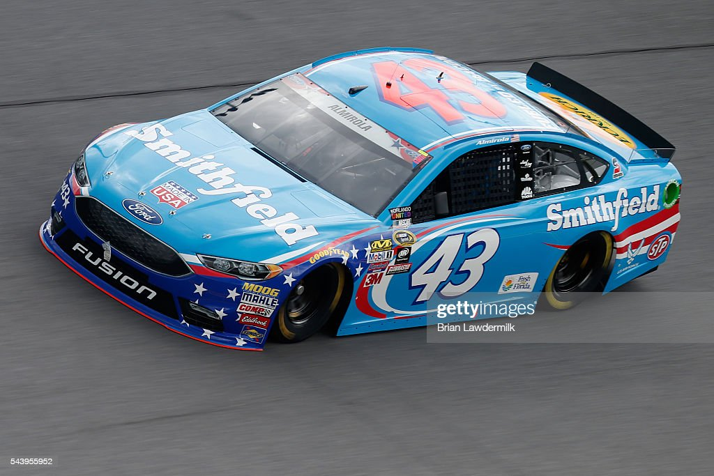 <a gi-track='captionPersonalityLinkClicked' href=/galleries/search?phrase=Aric+Almirola&family=editorial&specificpeople=574878 ng-click='$event.stopPropagation()'>Aric Almirola</a>, driver of the #43 Smithfield Ford, practices for the NASCAR Sprint Cup Series Coke Zero 400 at Daytona International Speedway on June 30, 2016 in Daytona Beach, Florida.