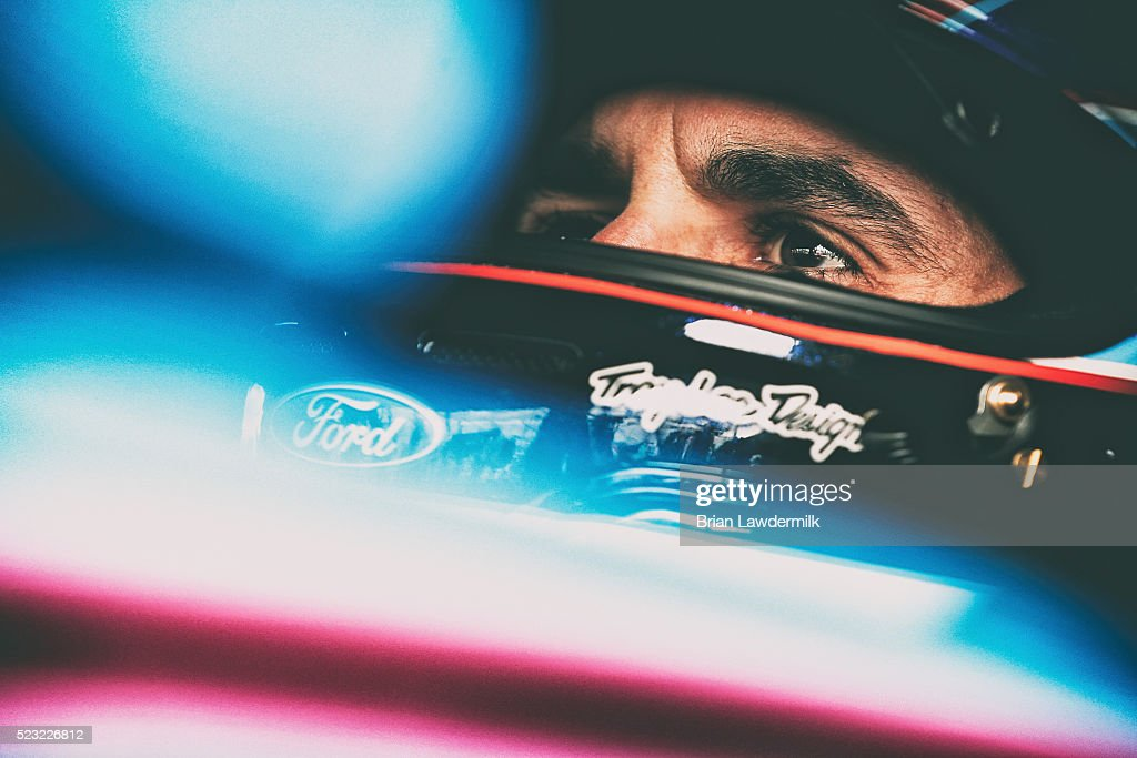Aric Almirola, driver of the #43 Smithfield Ford, prepares to drive during practice for the NASCAR Sprint Cup Series TOYOTA OWNERS 400 at Richmond International Raceway on April 22, 2016 in Richmond, Virginia.