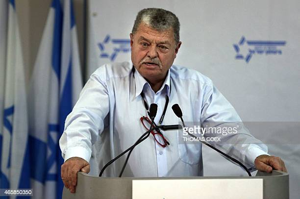 Arie Pelman former deputy head of Israeli internal security agency ShinBet delivers a speech during a press conference with former high ranking...