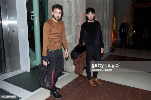 Ariel Dieguez and Ariel Medeiro also known as 'Los Arys' attend the Roberto Verino show during the MercedesBenz Madrid Fashion Week Autumn/Winter...
