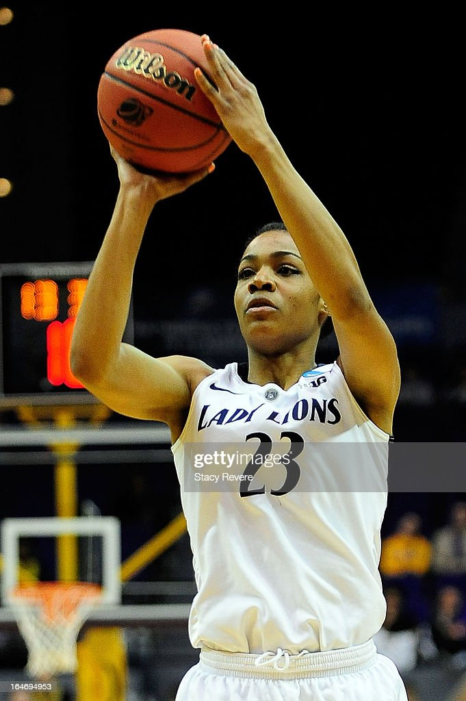 Ariel Edwards #23 of the Penn State Lady Lions takes a shot against the LSU Tigers during the second round of the NCAA Tournament at the Pete Maravich Assembly Center on March 26, 2013 in Baton Rouge, Louisiana.