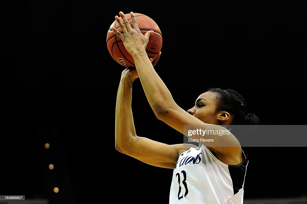 Ariel Edwards #23 of the Penn State Lady Lions takes a shot against the LSU Tigers during the second round of the NCAA Tournament at the Pete Maravich Assembly Center on March 26, 2013 in Baton Rouge, Louisiana. LSU won the game 71-66.