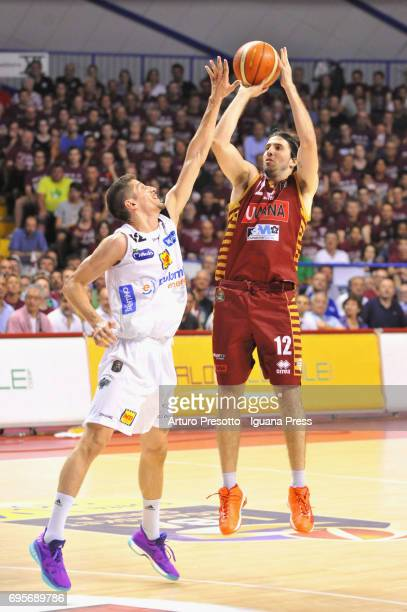 Ariel Filloy of Umana competes with Diego Flaccadori of Dolomiti during the match game 2 of play off final series of LBA Legabasket of Serie A1...