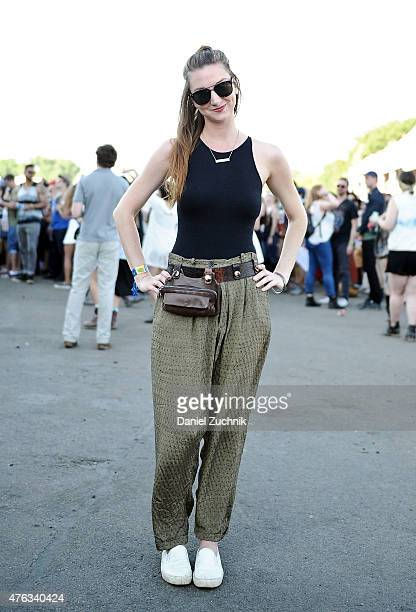 Ariel is seen wearing a vintage outfit during the 2015 Governors Ball Music Festival at Randall's Island on June 7 2015 in New York City