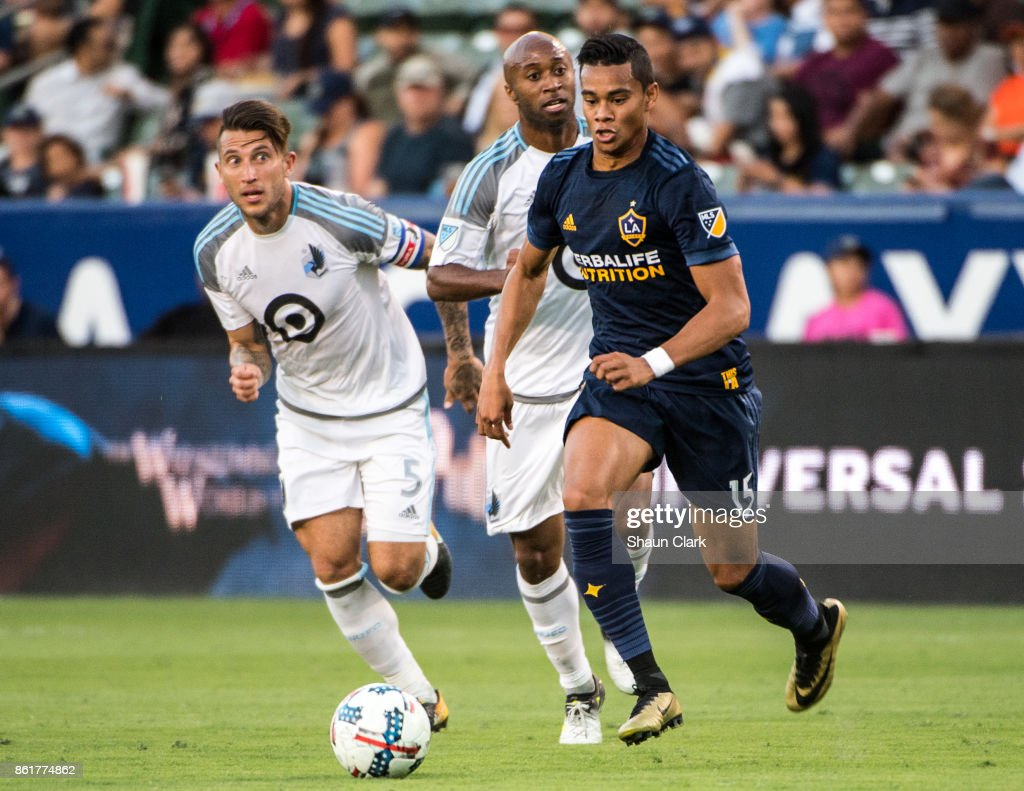 Ariel Lassiter #15 of Los Angeles Galaxy during the Los Angeles Galaxy's MLS match against Minnesota United at the StubHub Center on October 15, 2017 in Carson, California. Los Angeles Galaxy won the match 3-0