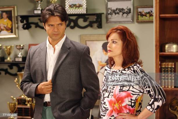 Ariel Lopez Padilla and Lupita Ferrer are seen on set during the filming of a scene from one of the first episodes of the Telemundo soap opera...