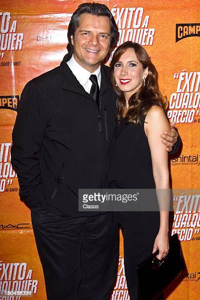 Ariel Lopez Padilla and Paulina Mancilla poses during the Red Carpet for the Premiere of the theatre play Exito a Cualquier Precio at Ignacio Lopez...