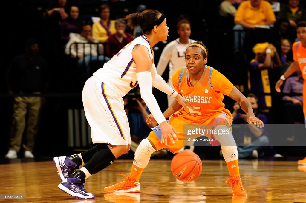 Ariel Massengale #5 of the Tennessee Volunteers guards Danielle Ballard #32 of the LSU Tigers during a game at the Pete Maravich Assembly Center on February 7, 2013 in Baton Rouge, Louisiana. Tennessee won the game 64-62.