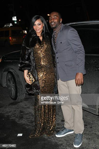 Ariel Meredith and Hakeem Nicks arrive at the 2015 Sports Illustrated Swimsuit Celebration at Marquee on February 10 2015 in New York City