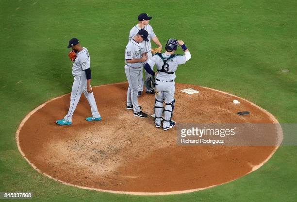 Ariel Miranda of the Seattle Mariners leaves the game in the thirs inning of a game against the Texas Rangers at Globe Life Park in Arlington on...