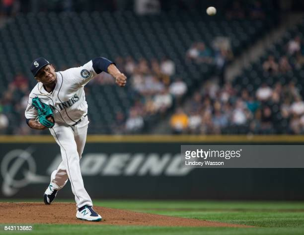 Ariel Miranda of the Seattle Mariners pitches against the Houston Astros in the first inning at Safeco Field on September 5 2017 in Seattle Washington