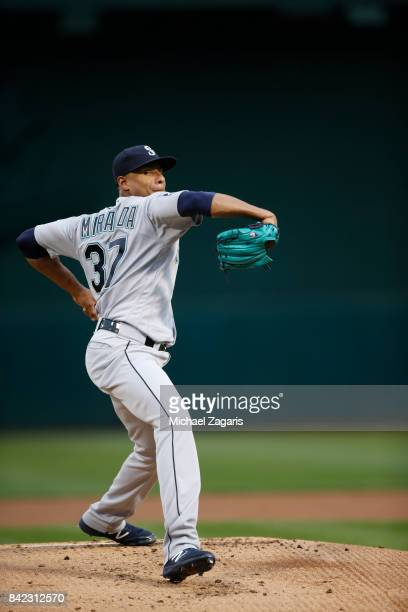 Ariel Miranda of the Seattle Mariners pitches during the game against the Oakland Athletics at the Oakland Alameda Coliseum on August 8 2017 in...