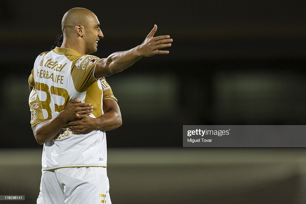 Ariel Nahuelpan of Pumas celebrates a goal against Atletico San Luis during a match between Pumas and Atletico San Luis as part of the Apertura 2013...