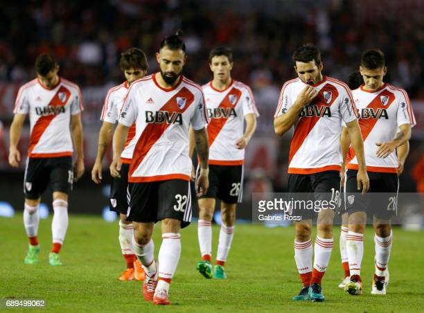 Ariel Rojas Ignacio Fernandez and Camilo Mayada of River Plate leave the field at the end of the first half during a match between River Plate and...