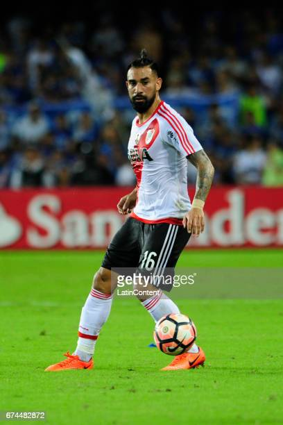Ariel Rojas of River late drives the ball during a group stage match between Emelec and River Plate as part of Copa CONMEBOL Libertadores Bridgestone...