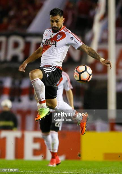 Ariel Rojas of River Plate controls the ball during a second leg match between River Plate and Wilstermann as part of the quarter finals of Copa...